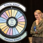 Photograph of a woman at a game show wheel