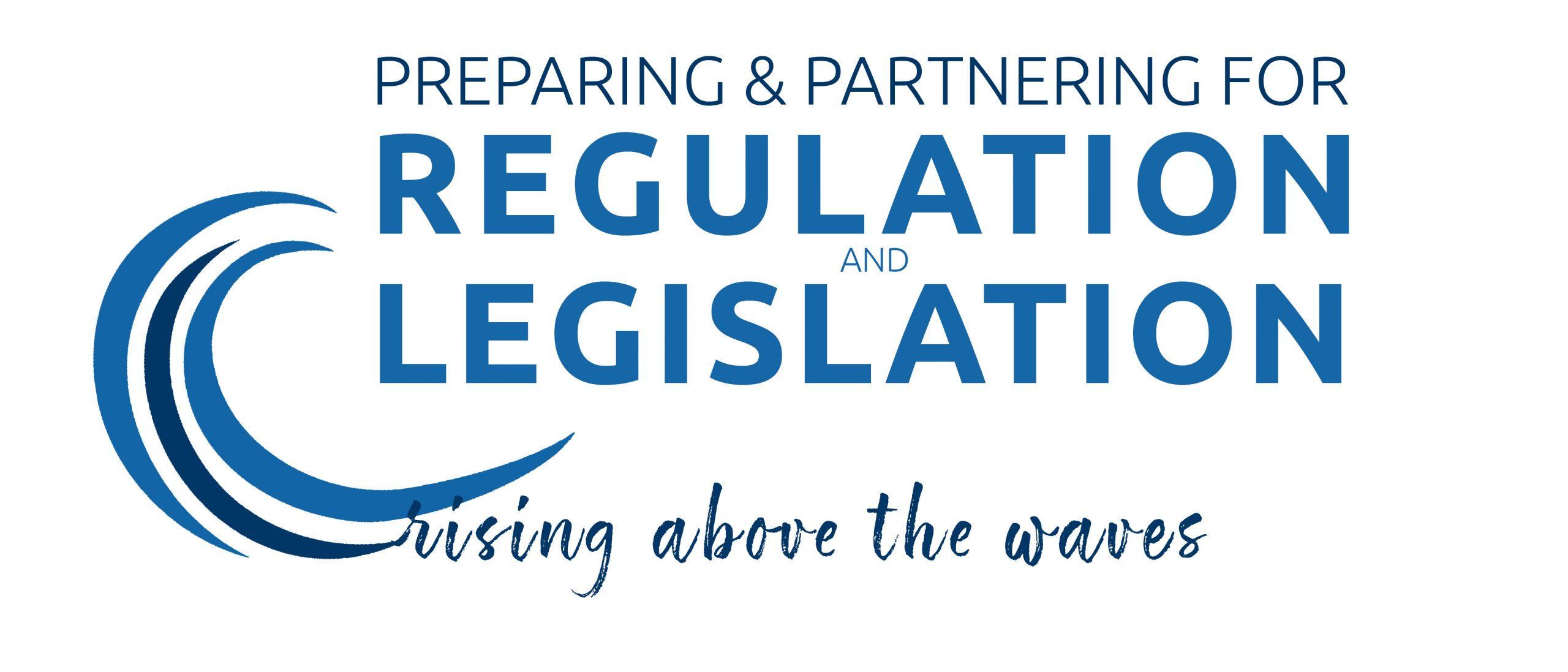 Logo for the 2019 education meeting: Rising above the waves preparing and partnering for regulation and legislation.