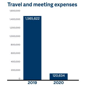 Graph showing $1.5 million in expenses for 2019 and 120,000 in expenses for 2020.