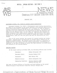 Photograph of a typewritten newsletter from 1982