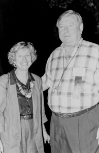 Black and white photograph of a woman and a man