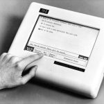 Photograph of computer testing system with a touchscreen from 1995